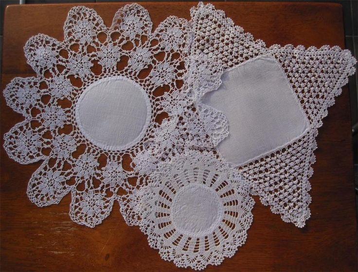Three Vintage Crochet Lace / Linen  DOILIES