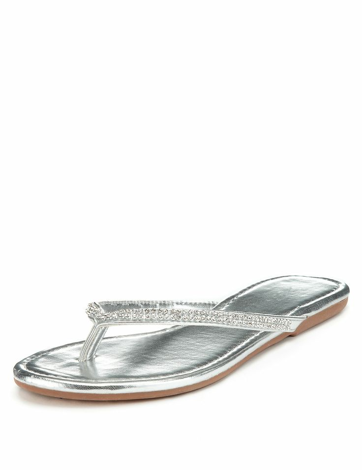 Diamanté Skinny Flip-Flops | M&S