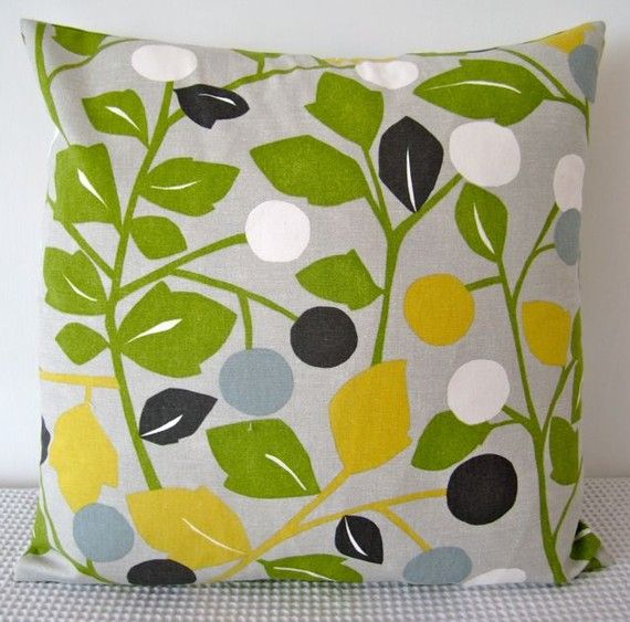 Floral Retro Green Yellow Duck Egg Blue Grey And White
