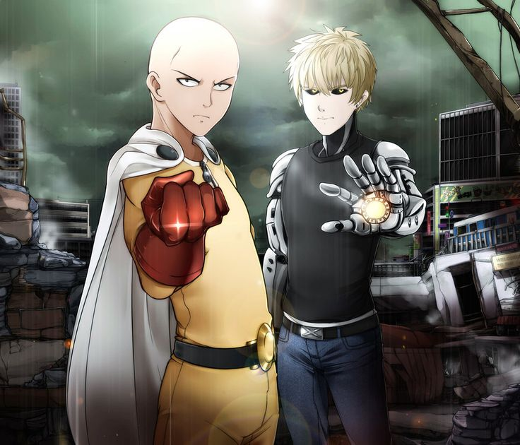 Onepunchman by #NORDBASTARD  #ワンパンマン #サイタマ #ジェノス #bald #blondehair #cyborg #drama #epic #hairless #saitama #onepunchman #genosonepunchman #saitamaonepunchman #genos_cyborg #anime #アニメ #digitalart #友達