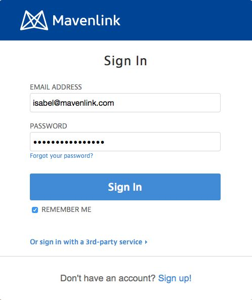 Login form. Application: Mavenlink.