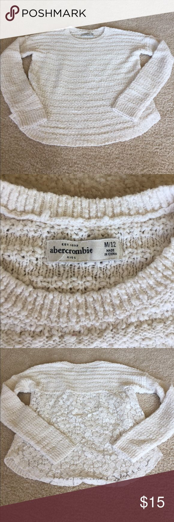 Abercrombie Girls Sweater Abercrombie girls medium sweater, 10/12 girls, gorgeous cream colored sweater with detail lace in the back, one of my favorite sweaters for my daughter unfortunately she only wore it once, no rips or stains, smoke free home bundle and save abercrombie kids Shirts & Tops Sweaters
