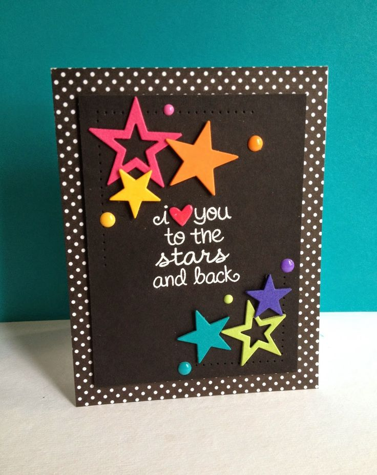 Used stars, rainbow, of course, with a dark simply pierced background and dark, printed card panel. Layered all the stars and added enamel dots in the colors of the stars. Also added a heart over the sentiment's heart and glossy accented it...