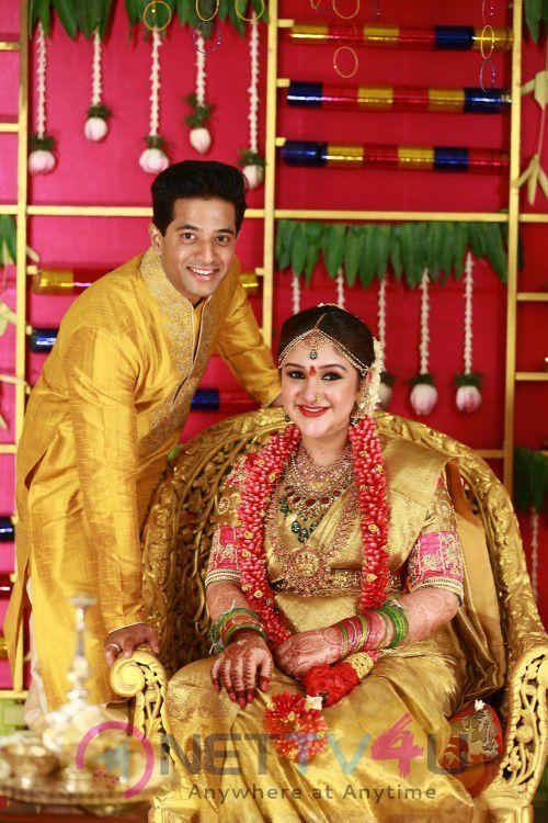 Rahul Sridevi Seemantham Function Beauteous Colourful Photos Tamil