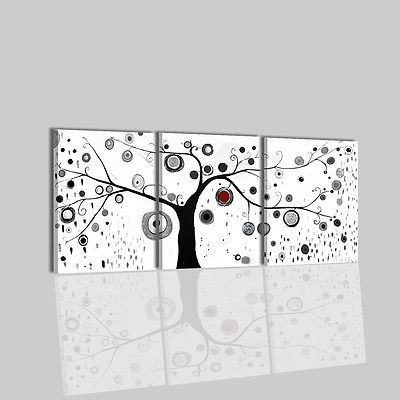 Quadri Moderni Astratti Dipinti A Mano Su Tela Bianco Nero Albero Per Soggiorno