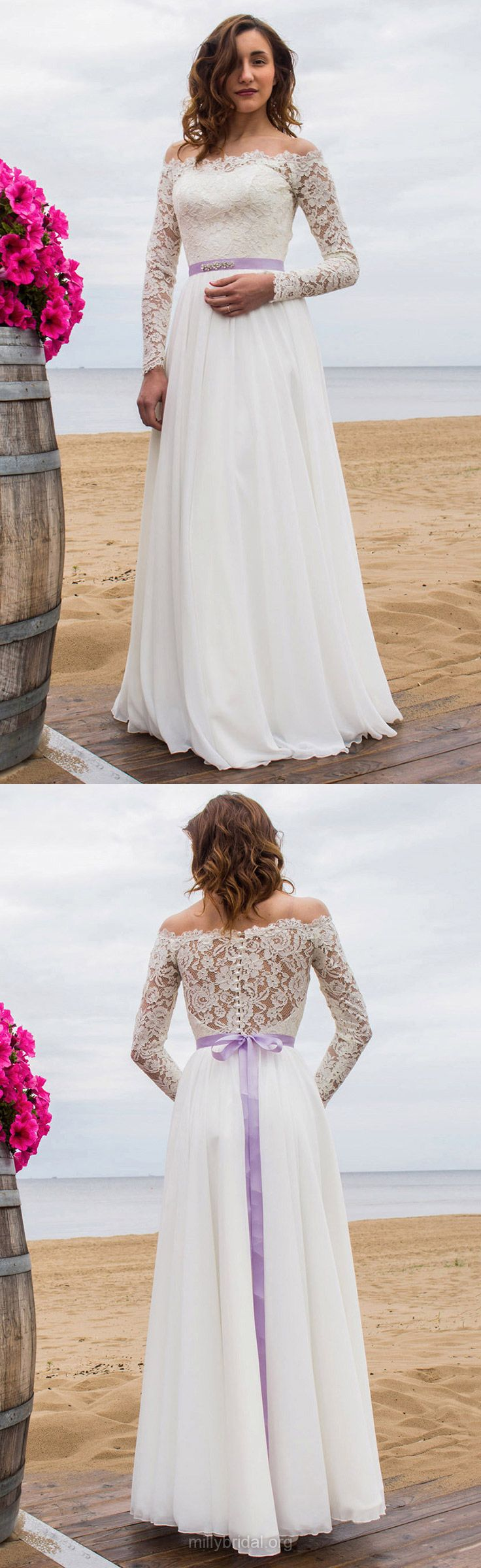 A-line Wedding Dresses Off-the-shoulder,  Lace Wedding Dresses Chiffon, Long Wedding Dresses Sashes / Ribbons Modest