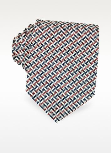 €38.50 | Beige, Burgundy and Blue Woven Silk Tie crafted from 100% silk Jacquard, features a multi-colored tiny ninja star pattern and logo keeper loop. Fully lined. Made in Italy.