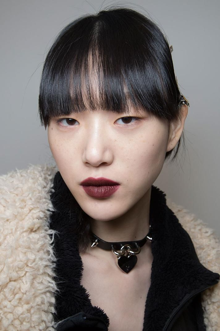 The punky looks at Edun were complemented by blunt, heavy bangs and perfectly defined mahogany lip color. | The Coolest Hair & Makeup Backstage at NYFW 2016