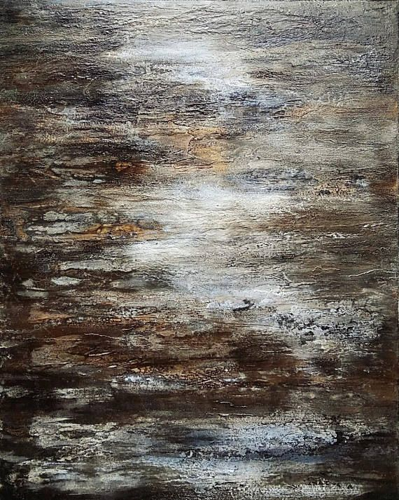 Abstract Texture Painting 24 x 30 Modern Canvas Wall Art Gray