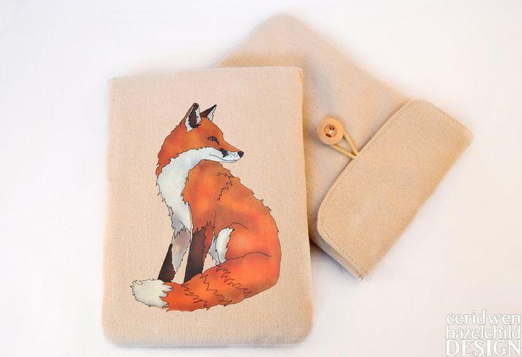 #Fox Digital Media Case ipad Case Kindle Case Tablet Case Padded Sleeve Protective Case Ceridwen Hazelchild Design