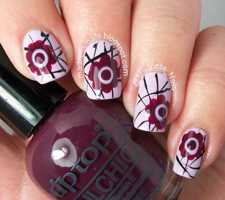 Nail Tutorial by Thea of Madness Nails #madnessnails #titop #femmelifestyle http://femmelifestyle.blogspot.com/2014/07/abstract-floral-nail-tutorial-by-thea.html