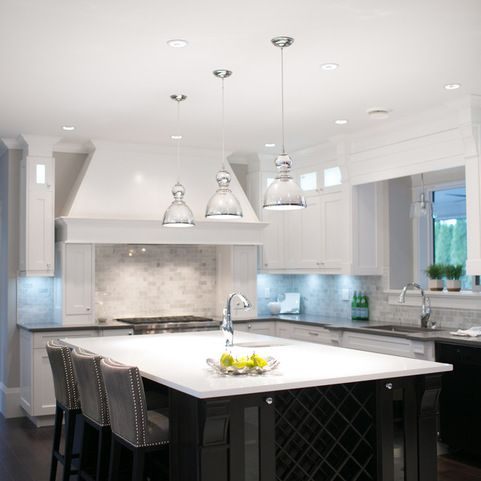 Gray Perimeter Countertops White Island Countertop Carrara Marble Backsplash Kitchen