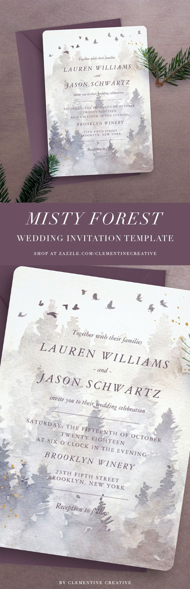 not on the high street winter wedding invitations%0A This misty pine forest wedding invitation template is the perfect fit for a  woodland  forest or winter wedding  Featuring a watercolour painted foggy  forest
