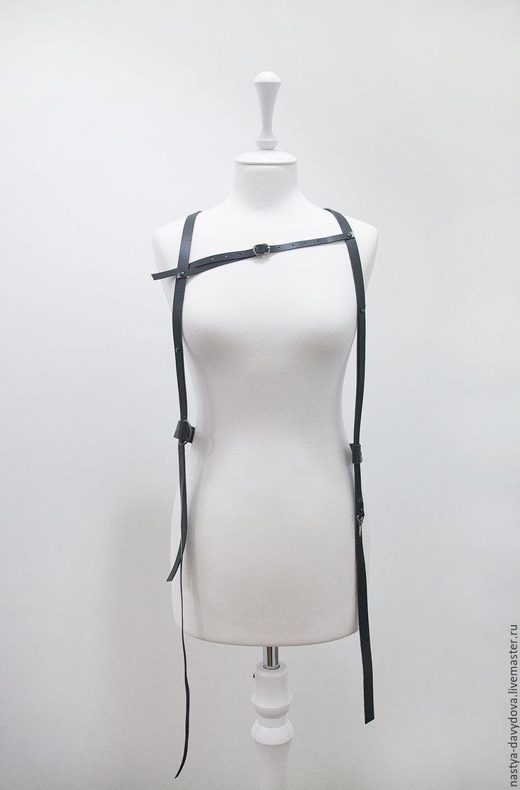 Купить Черная портупея - черный, однотонный, портупея, натуральная кожа, металлическая фурнитура, натуральная кожа