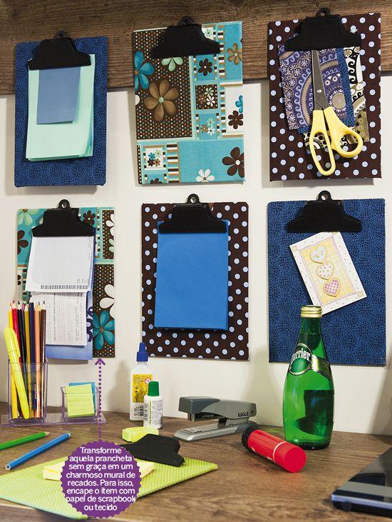 mural de recados com pranchetas encapadas com papel de scrapbook ou tecido