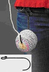 Hook for your ball of yarn - You can crochet while standing in a group