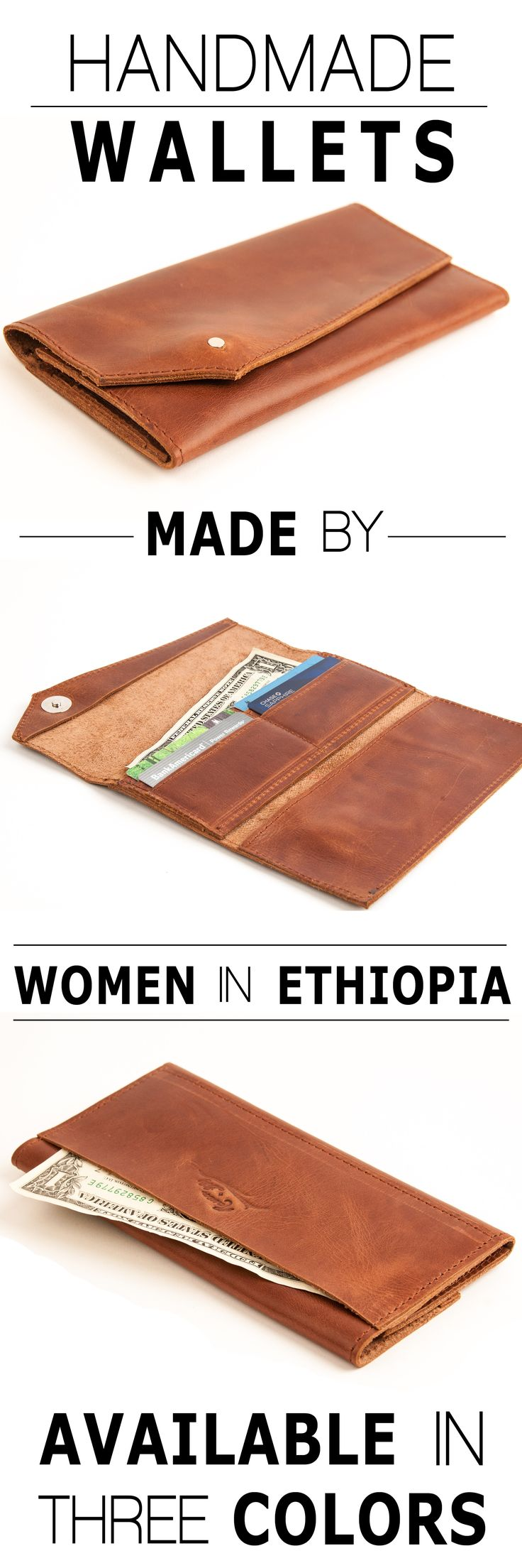 A wallet made from at-risk artisan women in Ethiopia. Absolutely love the superior quality of this handcrafted stitched leather wallet. Also keep the story going by choosing a cause to donate to. 10% goes to the cause of your choice.