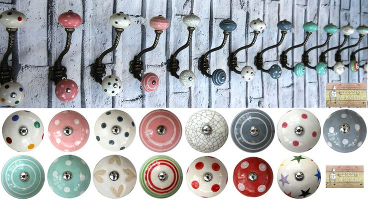 Gunmetal Colour Shabby chic vintage coat hooks pegs with choice of ceramic knobs | eBay