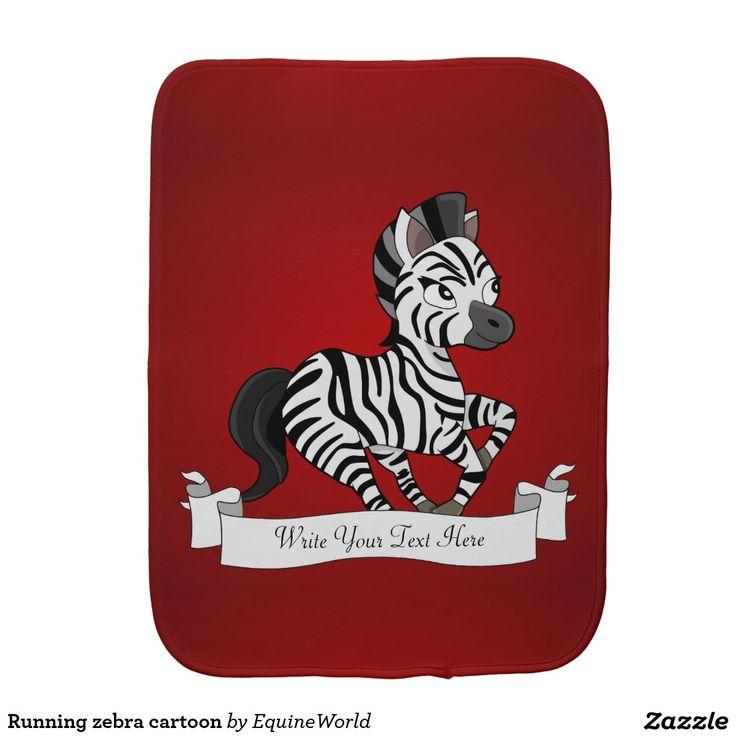 Running zebra cartoon baby burp cloth