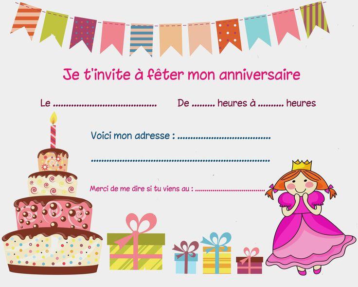 Best Of Carte Invitation Anniversaire Fille 7 Ans | Carte anniversaire gratuite, Carte ...