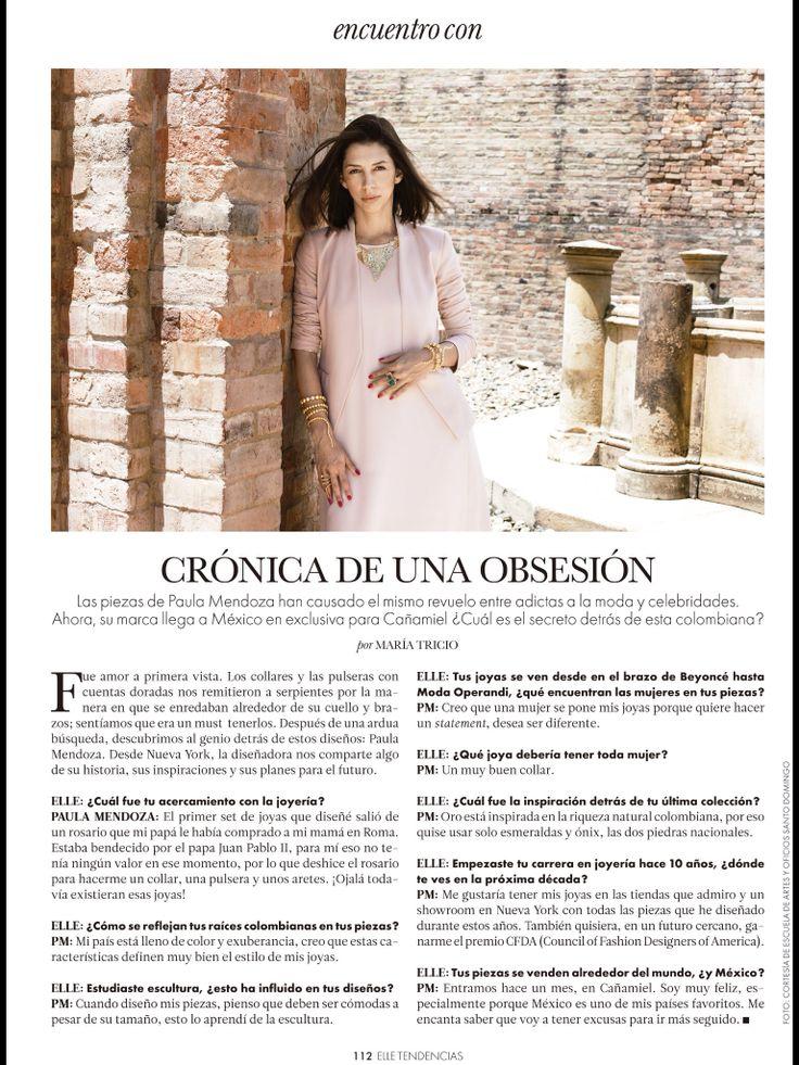 Entrevista de la diseñadora de joyería Paula Mendoza para Elle MX | colección ORO 2014 en exclusiva para CAÑAMIEL