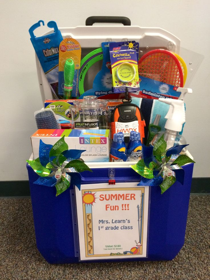"""Silent auction """"basket"""" for school fundraiser using ice chest filled with summertime fun! Great idea for a housewarming, birthday,  or wedding gift:)"""