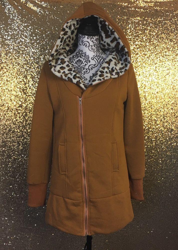Heramay Women's Hoodie Size XL Brown Tan Leopard Print Graphic Lining Zip Up #Heramay #Hoodie