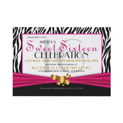 A fun mix of classy, formal and sweet for these custom, zebra print and gold hearts Sweet Sixteen party invites.: Sweet 16 Invitations, Sweet Sixteen Parties, 16 Parties, Pink Sweet, Parties Ideas, Parties Theme, Parties Invitations, Heart Sweet, Gold Heart