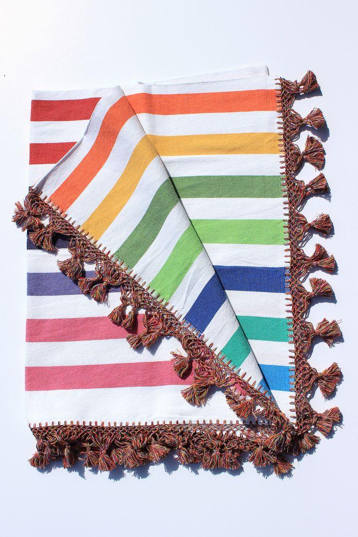 Large Rainbow Stripe Fringe Blanket