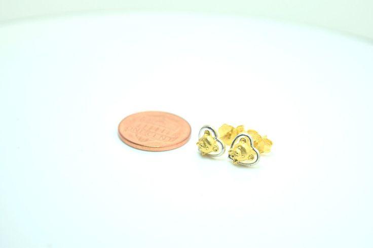 22k 22ct solid gold ELEGANT 3D HEART TEDDY BEAR EARRINGS FREE BOX E46