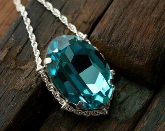Luz de Swarovski turquesa cristal cuna colgante en plata de ley