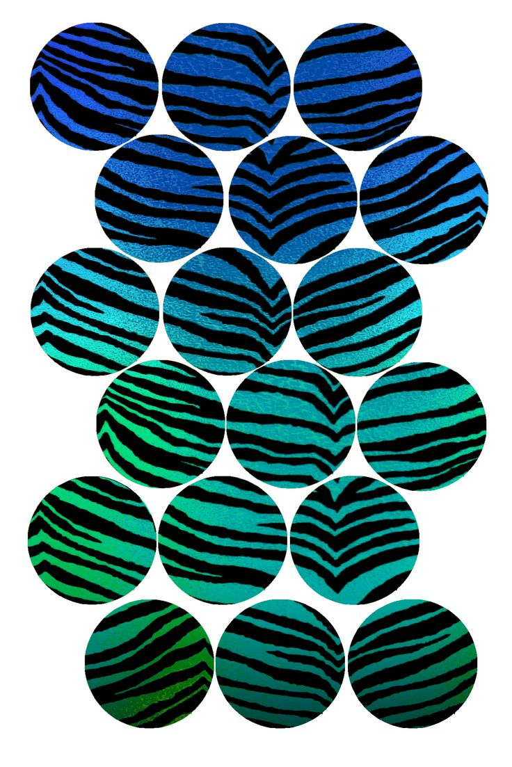 "Tiger Stripes (blue rainbow) Bottle cap image pack Formatted for printing on 4"" x 6"" photo paper"