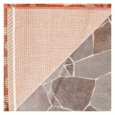 "Hinshaw Rectangle 2'3"" X 6'7"" Outdoor Rug - Terracotta / Natural - Safavieh, Terracotta/Natural"