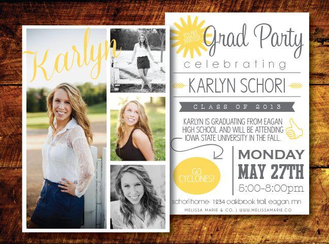 Modern Graduation Card Design - Mustard & Gray | Open House Invite | Grad Party Invite | Graduation Invitation [ melissa marie & co. ] www.melissamarie.co