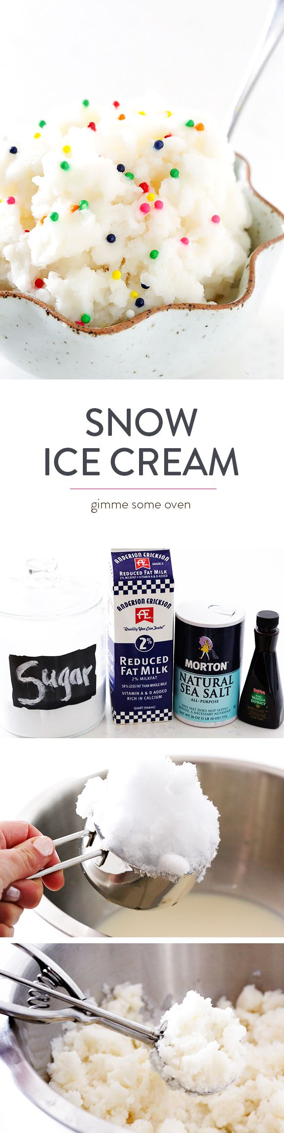 5-Minute Snow Ice Cream Recipe -- learn how to make delicious ice cream with fresh (real!) snow and 4 easy ingredients!  So fun, so fast, and so delicious | gimmesomeoven.com