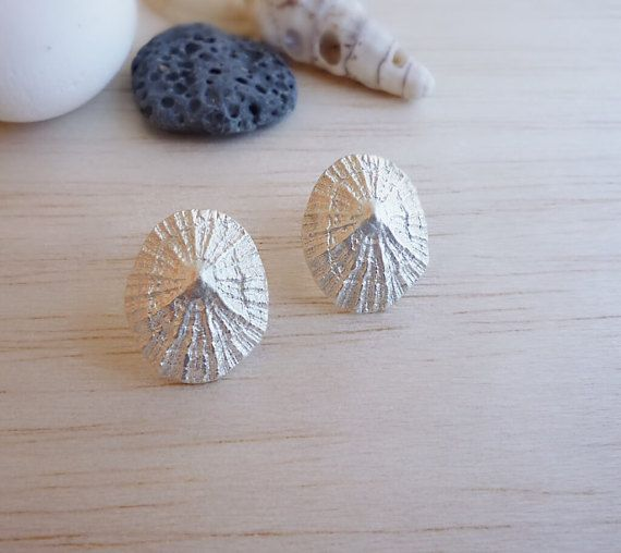 Sterling Silver Limpet Stud Earrings by Maria Apostolou
