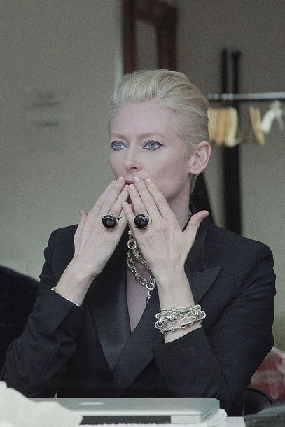 """Pomellato jewelry Nov 2012: Tilda Swinton presents the new silver jewelry """"Pomellato 67"""". The 52-year-old is the face of the house. Photoshoot By: Sølve Sundsbø"""