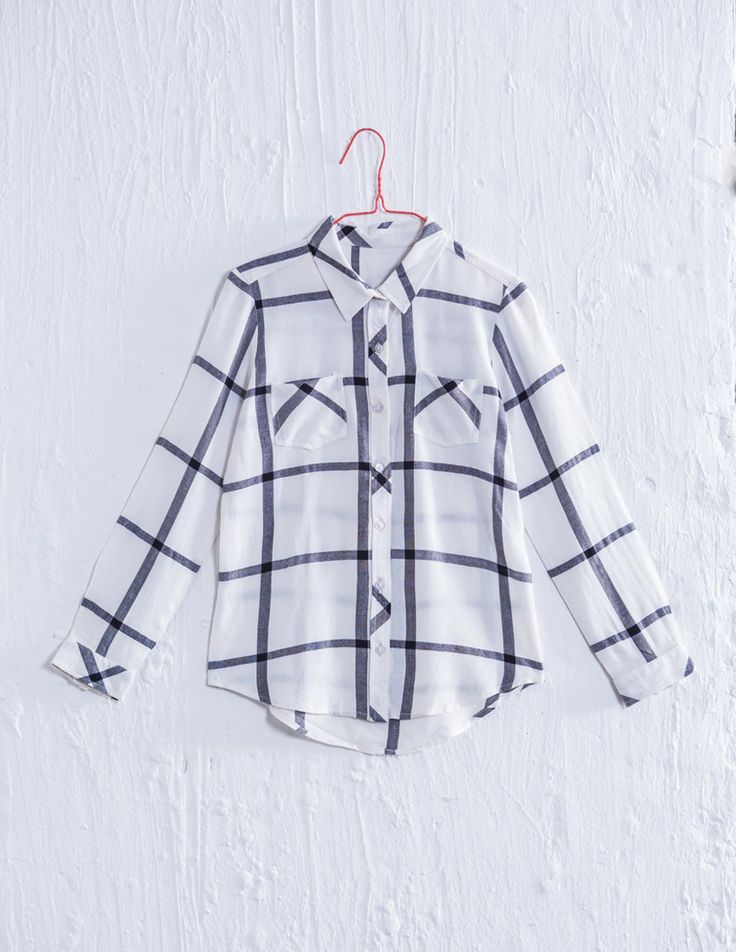 this is a brand new check shirt! it just got in and it is so cheek!The only problem is that your bra might show.Just  buy borrow or use a plain white shirt under i.that why no one will notis