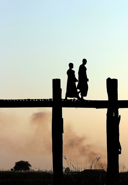 Monks on a morning walk in #Myanmar. #travel #AdventureHoney