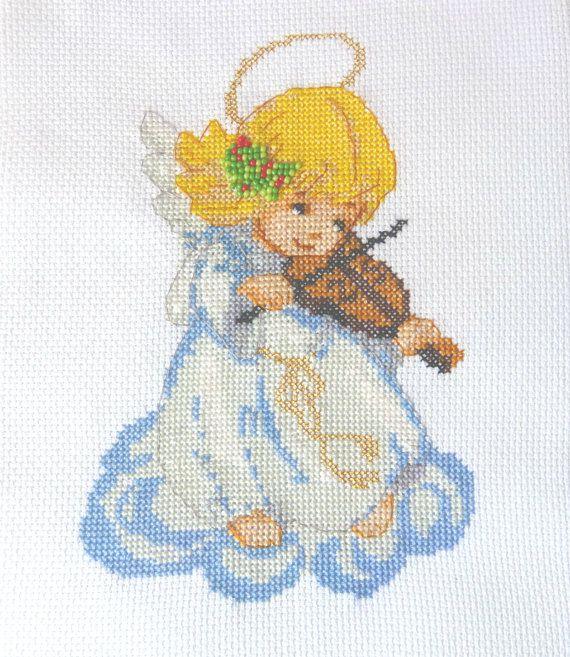 Angel playing the violin Cross Stitch by CrossStitchElizabeth