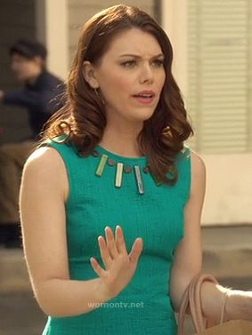 AnnaBeth's teal green dress with embellished neckline on Hart of Dixie.  Outfit details: http://wornontv.net/12329/