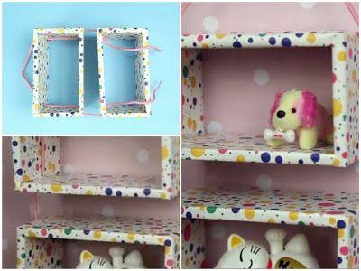 Haz unas repisas para juguetes o adornos reciclando cajas de cartón ~ Solountip.com