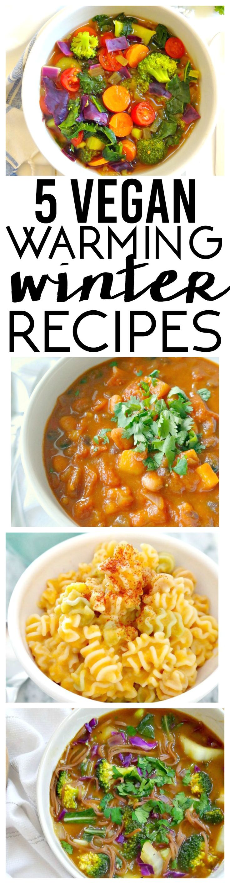 5 Vegan Warming Winter Recipes from Detox Soup to Spicy Chili to Asian-Inspired Noodle Soup and more, these 5 feel-good recipes are sure to warm you up and keep you nourished throughout the chilly winter months! From The Glowing Fridge.