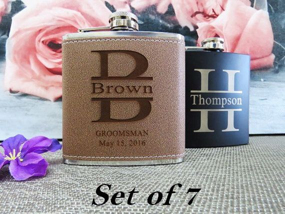7 Personalized Flasks // Groosmen Gift Ideas, Gifts for Men in Wedding, Best Man Gift, Usher Gift, Father of Bride Gift, FREE ENGRAVING by AwardSourceLLC on Etsy https://www.etsy.com/listing/252678728/7-personalized-flasks-groosmen-gift