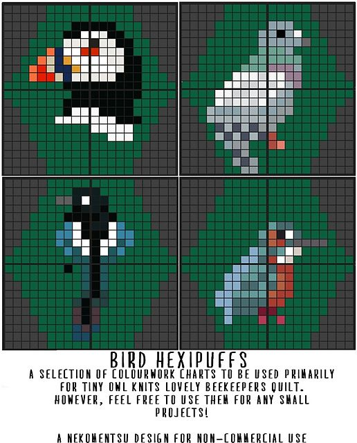 Ravelry: A Selection of Hexipuffs: The Birds pattern by Louise Lavender