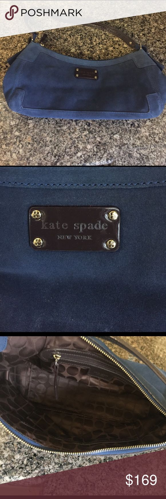 Kate Spade Navy Purse Kate Spade Navy Purse. It's absolutely beautiful. It's a navy suede Kate Spade Purse.  It does show a little wear and has a defect that can be seen in pictures. Priced to sell quickly. . kate spade Bags