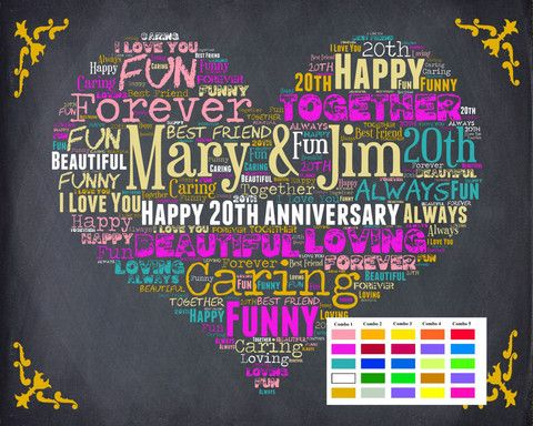 Personalized 20th Anniversary Gift Chalkboard Poster 20 Year Wedding DIGITAL DOWNLOAD