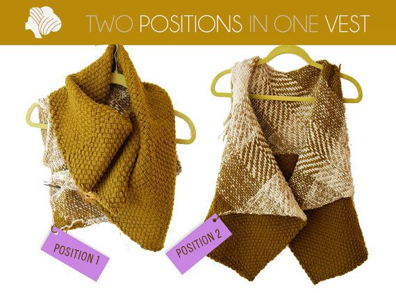 2 position woolen vest terracote fuchsia ocher or by Ullvuna, $125.00