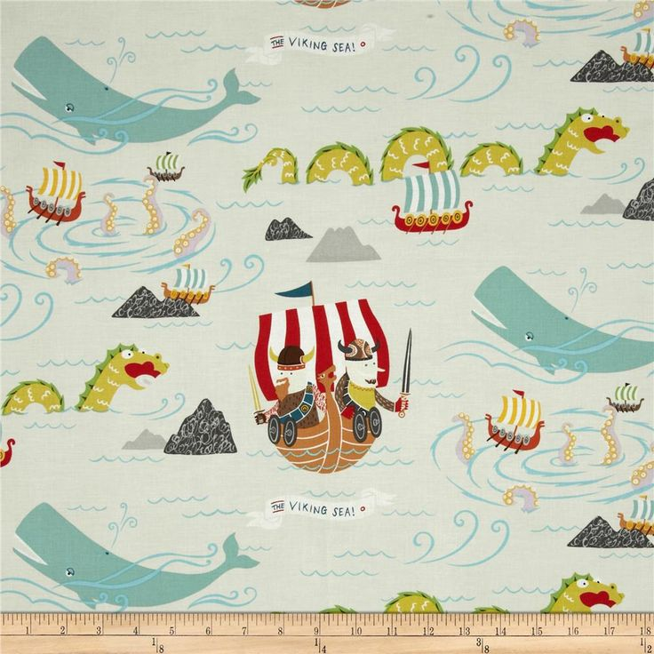Monkey's Bizness The Vikings Sea Taupe from @fabricdotcom  Designed by DeLeon Design Group for Alexander Henry, this cotton print is perfect for quilting, apparel and home decor accents. Colors include red, teal blue, dusty purple, yellow, green, and taupe.