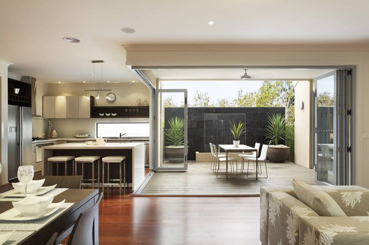 Image result for island bench with bifold doors behind